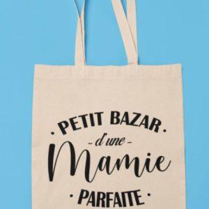 """Image de tote bag """" Petit bazar d'une mamie parfaite""""-MCL Sérigraphie"""