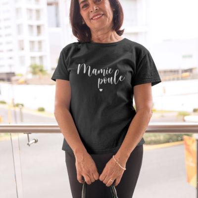 """Image de t-shirt noir femme """"Mamie Poule"""" - MCL Sérigraphie"""
