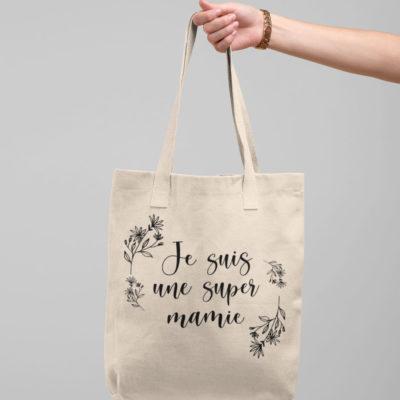 """Image de tote-bag """"Je suis une super mamie"""" - MCL Sérigraphie"""