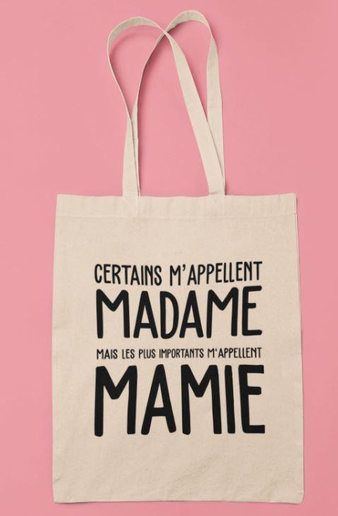 """Image tote bag """"Les plus importants m'appellent Mamie""""-MCL Sérigraphie"""