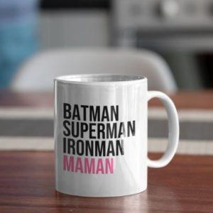 """Image de mug """"Batman, Superman, Ironman, Maman"""" - MCL Sérigraphie"""