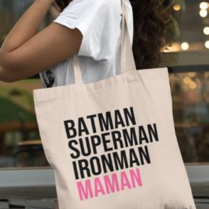 "Image de tote-bag ""Batman, Superman, Ironman, Maman"" - MCL Sérigraphie"