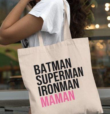 "Image de tote-bag ""Batman, Superman, Ironman, Maman"" - MCL Sérigraphie"