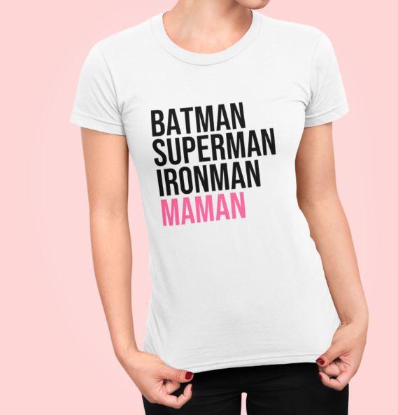 "Image de t-shirt blanc ""Batman, Superman, Ironman, Maman"" - MCL Sérigraphie"