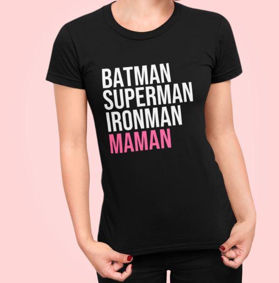 "Image de t-shirt noir ""Batman, Superman, Ironman, Maman"" - MCL Sérigraphie"