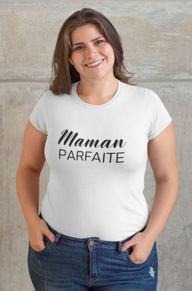 """Image de t-shirt blanc femme """"Maman parfaite"""" - MCL Sérigraphie"""