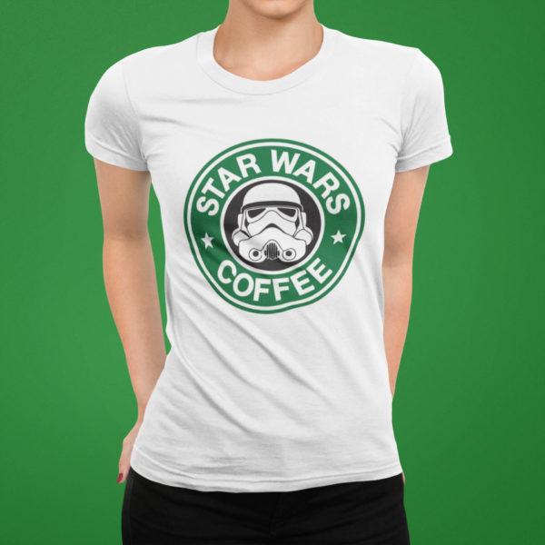 "Image de t-shirt blanc femme ""Star Wars Coffee"" - MCL Sérigraphie"