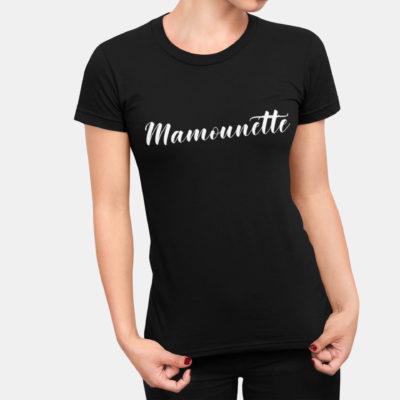 """Image de t-shirt noir """"Mamounette"""" - MCL Sérigraphie"""