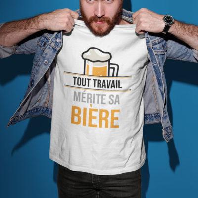 """Image du t-shirt homme """"Tout travail mérite sa bière"""" - MCL Sérigraphie"""
