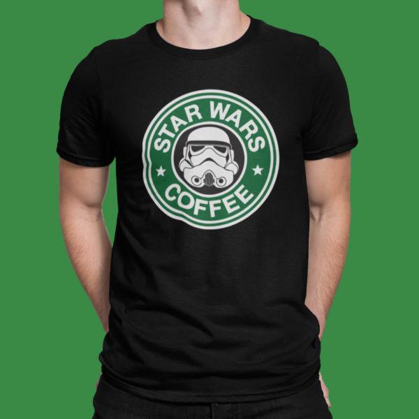 """Image de t-shirt noir homme """"Star Wars Coffee"""" - MCL Sérigraphie"""