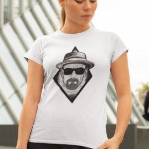 """Image de t-shirt blanc femme """"Heisenberg"""" - MCL Sérigraphie"""