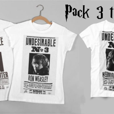 Image de pack de 3 t-shirts Harry Potter, Hermione, Ron - MCL Sérigraphie