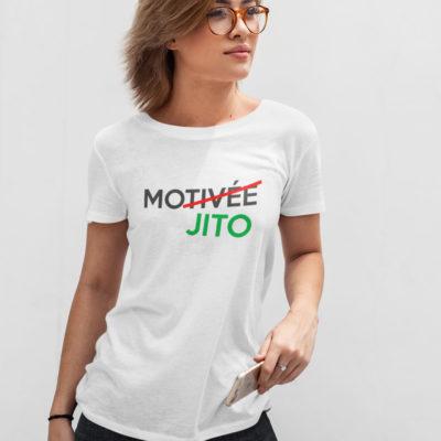 """Image de t-shirt blanc femme """"Motivée Mojito"""" - MCL Sérigraphie"""