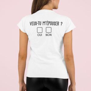 """Image de t-shirt blanc femme """"Veux-tu m'épouser ?"""" - MCL Sérigraphie"""