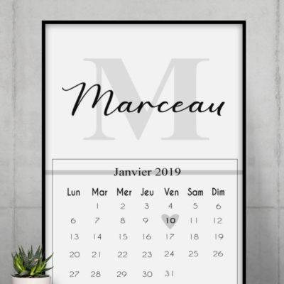 Affiche de naissance personnalisée date - MCL Sérigraphie