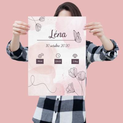 Affiche de naissance rose personnalisée - MCL Sérigraphie