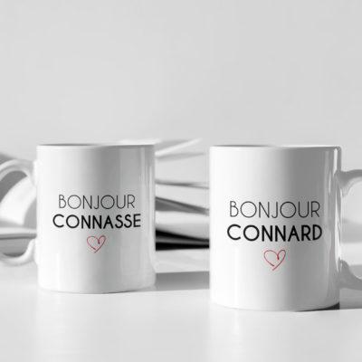 Image de duo mugs - Bonjour connasse/Bonjour connard - MCL Sérigraphie