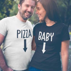Image t-shirts duo t-shirt noir femme tshirt femme blanc - Baby/Pizza - MCL Sérigraphie