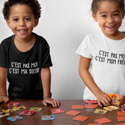 """Duo t-shirts noir et blanc """"C'est pas moi"""" - spécial frère et sœur - MCL Sérigraphie"""