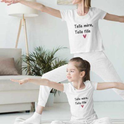 """Image de t-shirt duo blanc """"Telle mère telle fille""""-MCL Sérigraphie"""