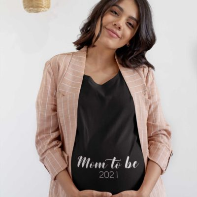 """T-shirt grossesse noir """"Mom to be 2021"""" - MCL Sérigraphie"""