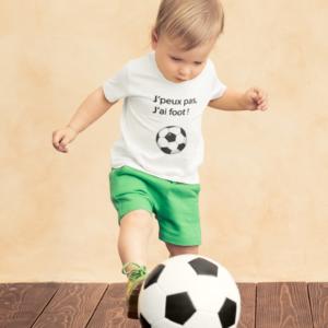 """T-shirt enfant """"j'peux pas j'ai foot""""-MCL Sérigraphie"""