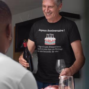 """Image de t-shirt noir anniversaire """"L'âge n'a pas d'importance""""-MCL Sérigraphie"""