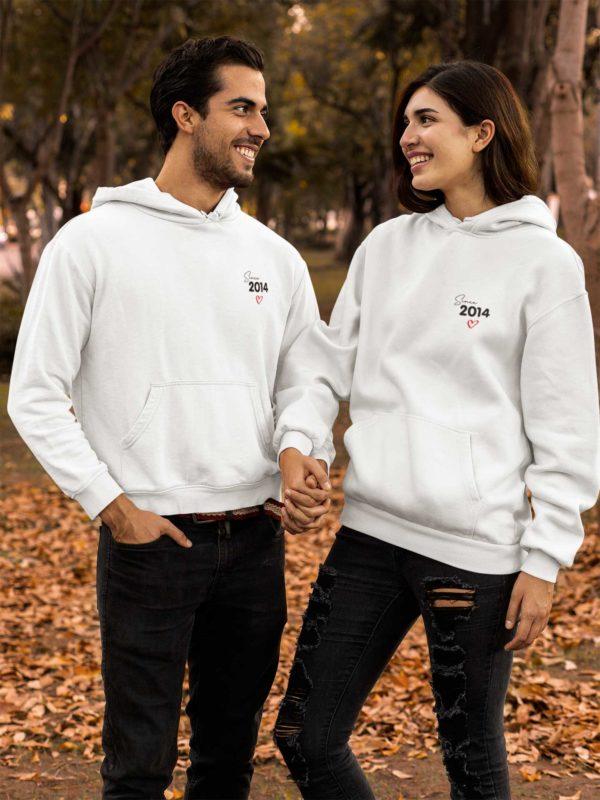 """Image de Sweat à capuche blanc et noir duo couple """"Since 2014""""-MCL Sérigraphie"""
