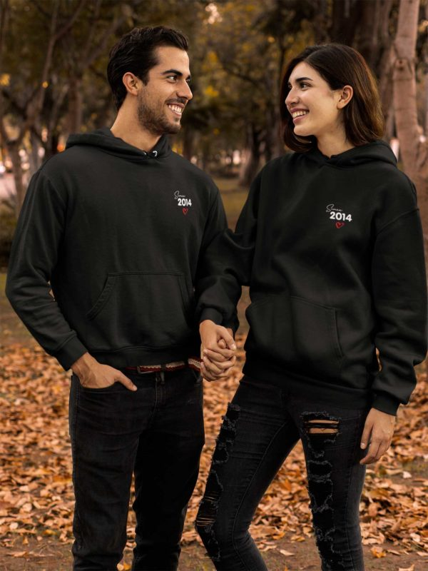 "Sweat à capuche duo couple ""Since 2014""-MCL Sérigraphie"
