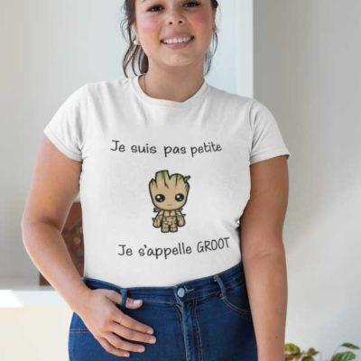 """Image de t-shirt blanc """"Je suis pas petite je s'appelle groot""""-MCL Sérigraphie"""