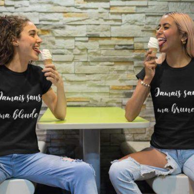 """Image t-shirt noir """"Jamais sans ma blonde""""/""""Jamais sans ma brune""""-MCL Sérigraphie"""