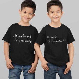 """Image de t-shirts duo noir """"Je suis né le premier et moi le deuxième ! """"-MCL Sérigraphie"""