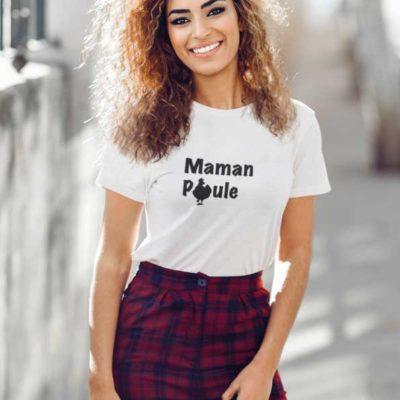 """Image de t-shirt blanc """"Maman Poule""""-MCL Sérigraphie"""