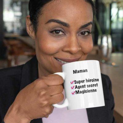 """Image de mug """"Maman super héroine, agent secret, magicienne""""-MCL Sérigraphie"""