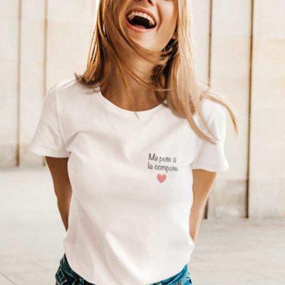 """Image de t-shirt blanc """"Ma pote à la compote""""-MCL Sérigraphie"""