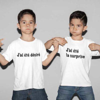 """Image de t-shirts duo blanc """"J'ai été désiré/J'ai été la surprise """"-MCL Sérigraphie"""