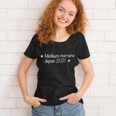 """Image de t-shirt noir femme """"Meilleure marraine depuis 2021""""-MCL Sérigraphie"""