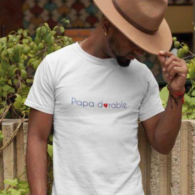 """Image de t-shirt blanc """"Papa dorable""""-MCL Sérigraphie"""