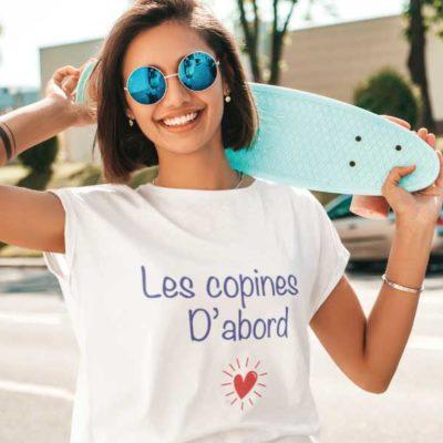 """Image de t-shirt blanc """"Les copines d'abord""""-MCL Sérigraphie"""