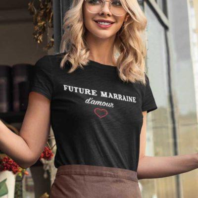 """Image de t-shirt noir femme """"Future marraine d'amour""""-MCL Sérigraphie"""