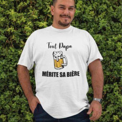 """Image de t-shirt blanc """"Tout papa mérite sa bière""""- MCL Sérigraphie"""