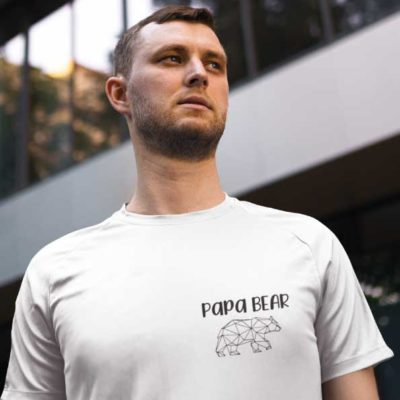 "Image de t-shirt blanc ""Papa Bear""-MCL Sérigraphie"