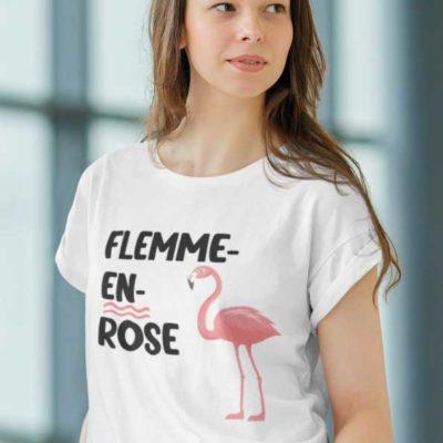 """Image de t-shirt blanc """"FLEMME-EN-ROSE""""-MCL Sérigraphie"""